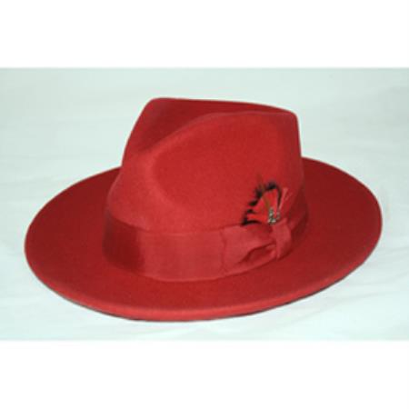 Mens Red Fedora Hat