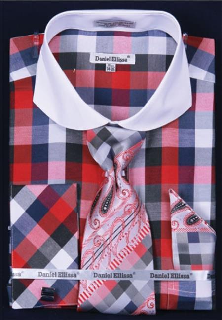 SKU#DQ289 Mens French Cuff Dress Shirt Set White Collar Two Toned Contrast Bright Checker Black/Red Plaid ~ Windowpane