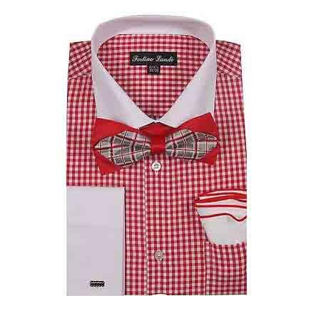 White Collar Two Toned Contrast Red Gingham Shirt - Checker Pattern - French Cuff - White Collared + Free Bowtie  Mens Dress Shirt