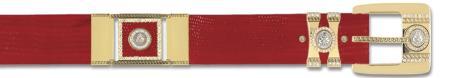 SKU#RED6961 Red Genuine Lizard With Rhinestone / Gold Plated Brackets