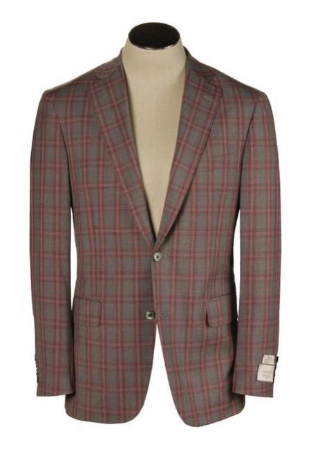 Buy SM3921 Red & Grey American USA Made Hardwick Clothing Manufacturers America Bradley Fit Dress Pants Wool Blazer Sport Coat