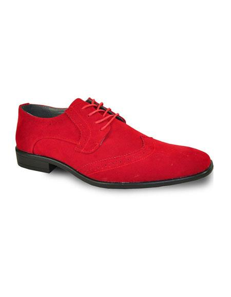 Mens Fashionable Red Tuxedo Lace Up Suede Velvet Fabric Shoe For Men Perfect for Wedding - Red Mens Prom Shoe