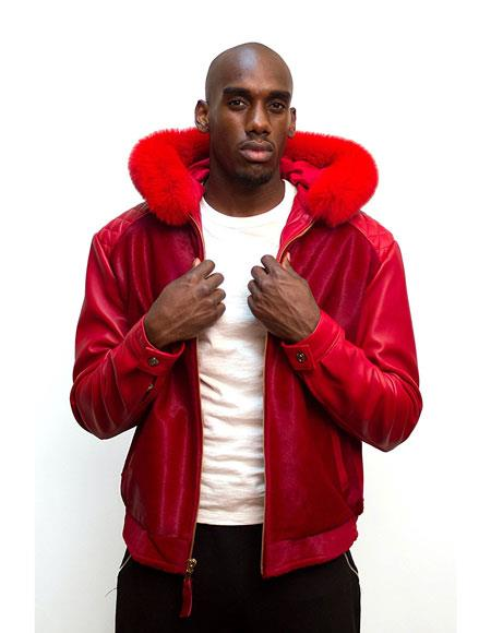 SKU#AP604 G-Gator Mens Pony and Lambskin Red Leather Jacket with Fox Fur trimming Hood