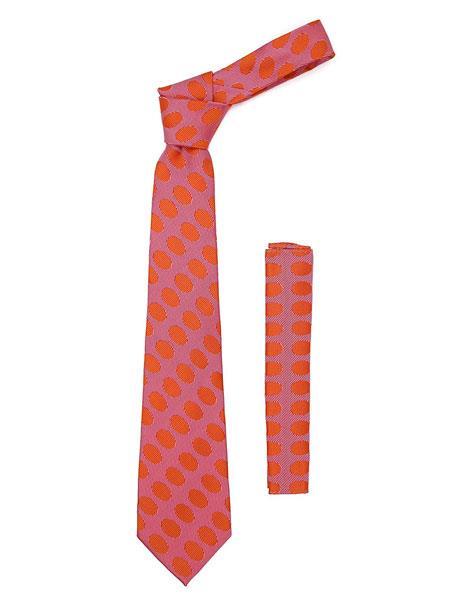 Mens Geometric Red Orange Polkadot Stripe Fashionable Necktie With Hanky Set
