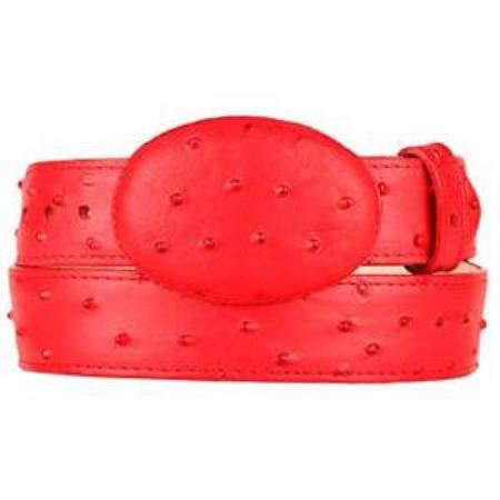 Men's Red Ostrich Print Western Style Belt