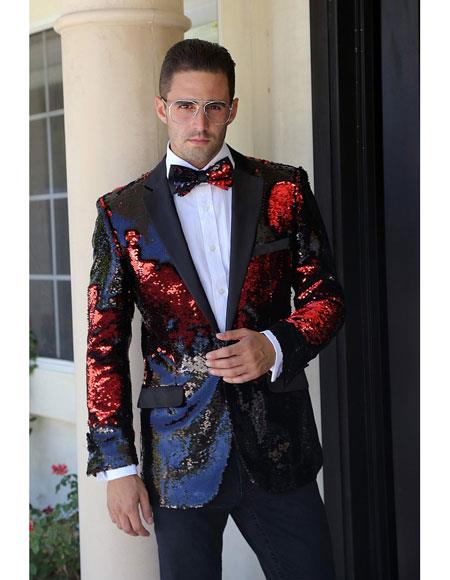 Mens fashion paisley print tuxedo Sequin ~ Shiny ~ Flashy ~ Shark skin Red Cheap Blazer Jacket For M