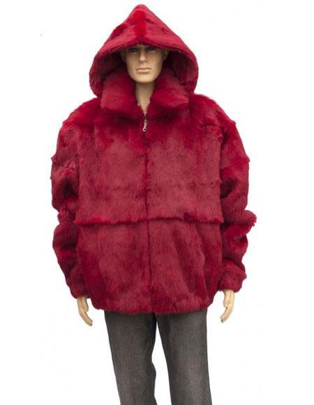 Mens Fur Red Genuine Full Skin Rabbit Detachable Hood Jacket