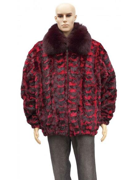Mens Fur Red Sheared Genuine Mink Jacket With Fox Collar