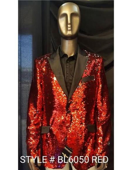Men's Fashion Red Shiny Sequin Paisley Cheap Priced Blazer Jacket For Men Sport coat Tuxedo Jacket  -