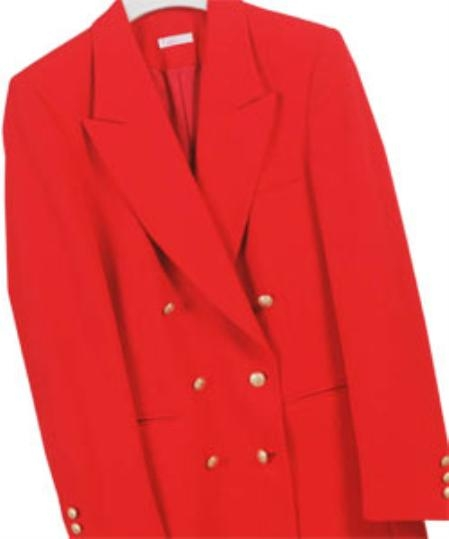 SKU# LAN532 Z762TA Red , Six Button Double Breasted Performance Blazer Jacket Coat