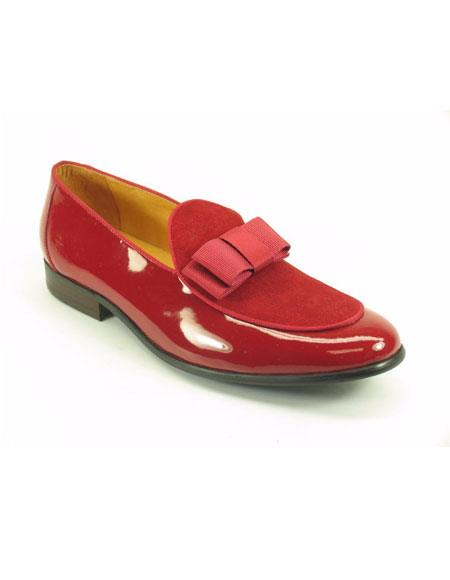 Men's Carrucci Shiny Red Slip On Formal Slip on - Stylish Dress Loafer Red And Tint Of Black Dress Shoes With Bow - Red Men's Prom Shoe
