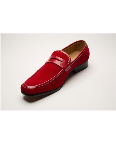 Men's Two Toned Red Slip-On Style Solid Fashionable Shoes - Red Men's Prom Shoe