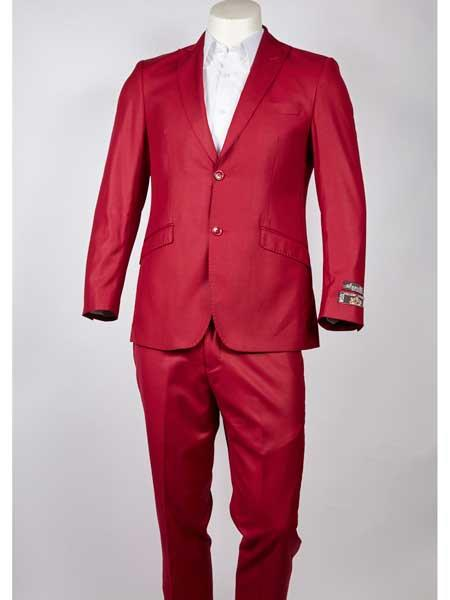 Buy SM961 Men's Single Breasted Peak Lapel Red Slim Fit Two Button Suit