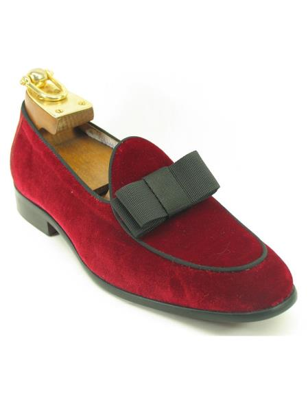 Mens Fashionable Carrucci Genuine Red Velvet / Bow Slip On Tuxedo Formal Dress Shoe