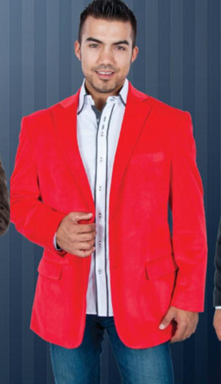 SKU#YT6367 Red Velvet Blazer Jackets for Men