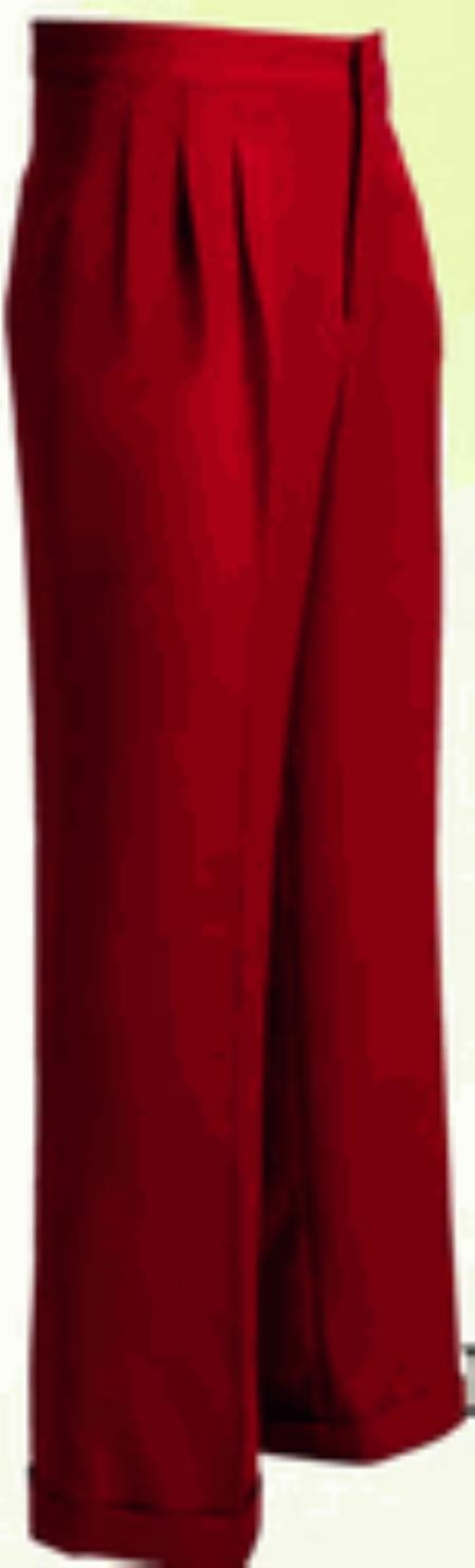 Buy RW363 long rise big leg slacks Men's Wide Leg Triple Pleat Red Pant