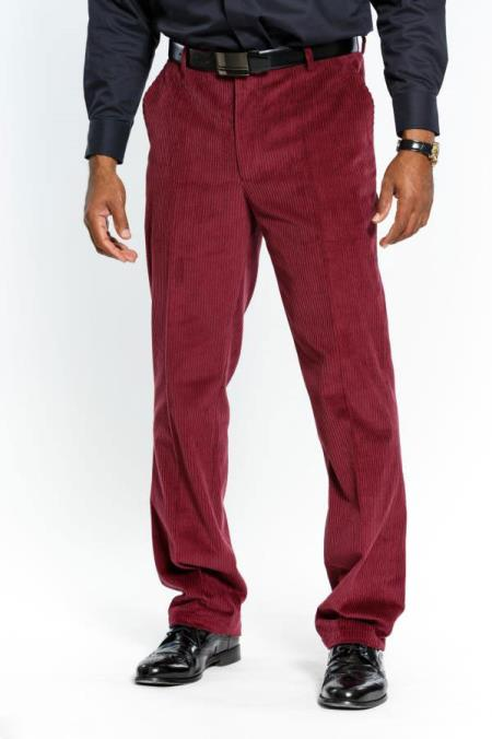 Men's Stylish Flat Front Red Wine Corduroy Formal Dressy Pant Available December/28/2020