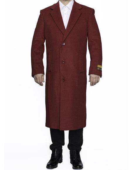 Men's Dress Coat Full Length Wool Dress Top Coat / Overcoat in Burgundy Overcoat