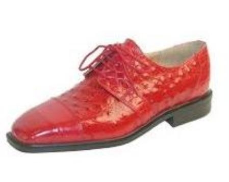 SKU# EME476 15611 Red classic oxfords croco and ostrich print uppers exotic print shoes $79