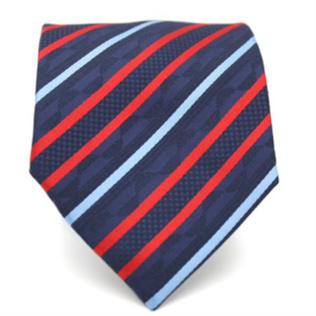 Slim Red & Blue Classic Necktie with Matching Handkerchief - Tie Set