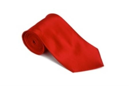 SKU#KJ311 Red 100% Silk Solid Necktie With Handkerchief