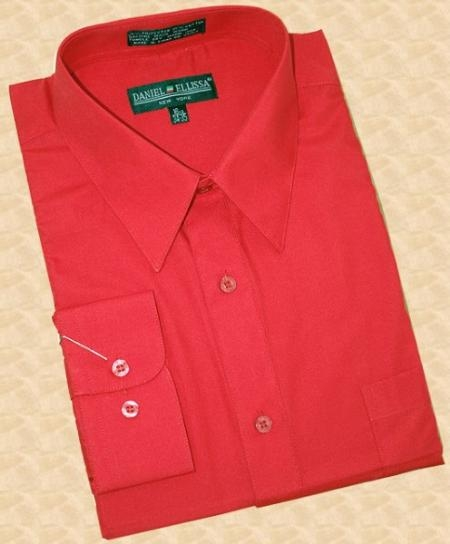 SKU#SA390 Red Cotton Blend Dress Shirt With Convertible Cuffs $39