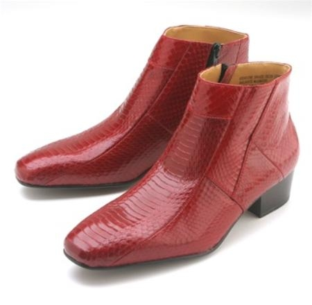 SKU#RDF291 Red Snakeskin Demi Zip Boot $139