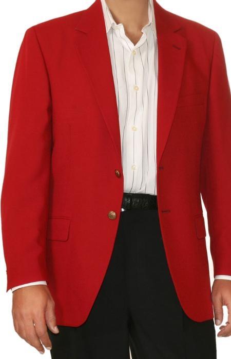 Sku Rd9346 Red Two Button Blazer Wool Blend Men Women