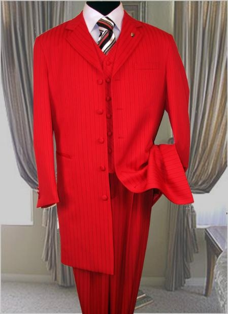 SKU#AL650 Red With Black Pinstripe 3PC Fashion Zoot Suit Extra Fine $179