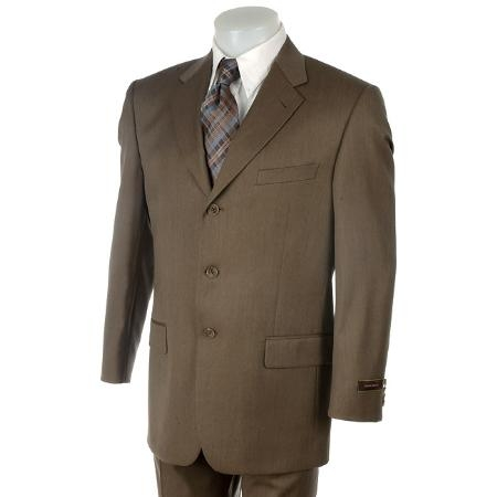 SKU# DOO490 Retail:299 Essentional Dark Olive Green 3 Button Super 140s Worsted Wool Blend Suits On Sale $149