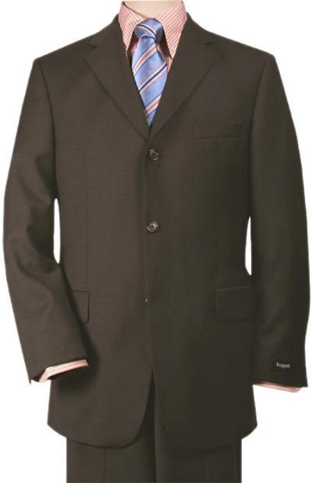 SKU# 3BW199ZB88 Rich Chocolate Brown 3-Button Super 140s Wool 3 Button premier quality italian fabric Design Suit $175
