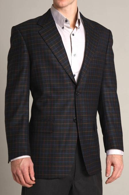 SKU#HU9911 Richard Harris Black Multi colored Checkered Super 100 Wool Jacket $149