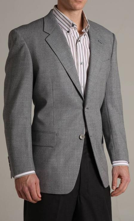SKU#KX34890 Single Breasted Grey-ish Blue Two buttoned Super 100 Wool Sports Jacket