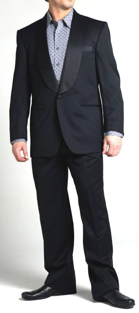 SKU#JN8088 Richard Harris One Button Shawl Collar Wool Tuxedo - Black