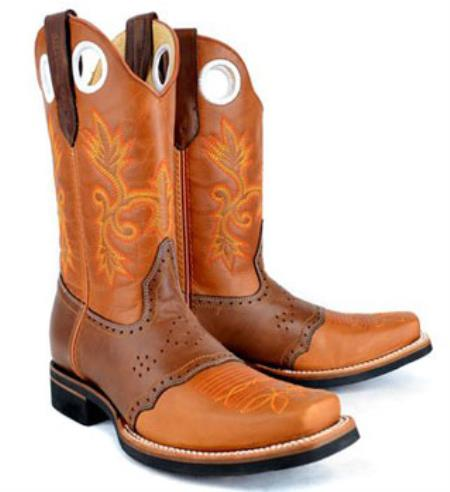 RM1022 Mens King Exotic Rodeo Style Leather Boot Leather Saddle Cognac Boot