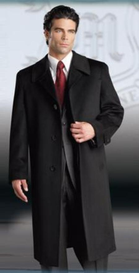 SKU#Ronald Mens Luxury Cashmere Single Breasted 3 Button Three Quarter Topcoat~Overcoat Notched Lap
