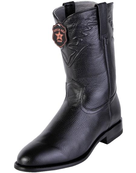 Men's Handcrafted Black Los Altos Boots  Roper Toe Style Genuine Elk Leather Dress Cowboy Boot Cheap Priced For Sale Online