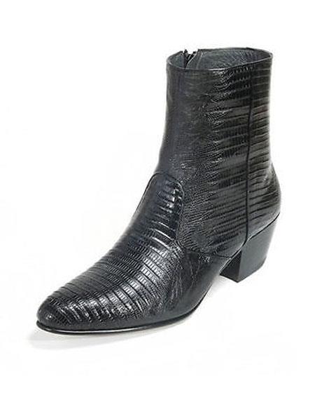 Los Altos Mens Genuine Full Teju Lizard Ankle Boot Medium Round Toe Side Zipper