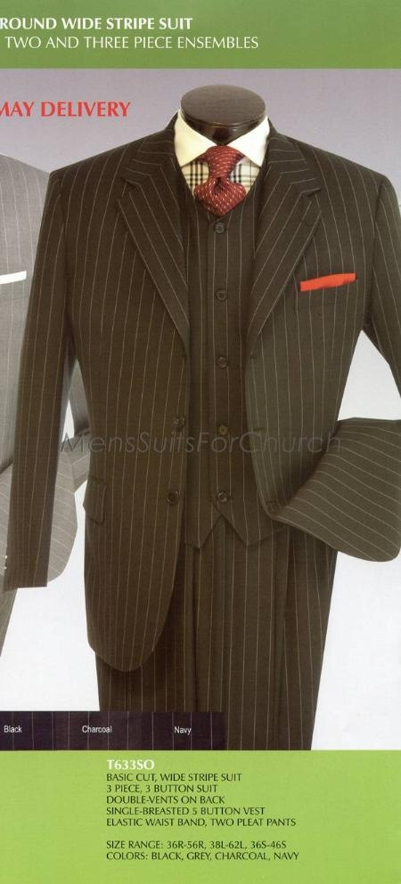 1940s Men's Suit History and Styling Tips Round Wide Stripe three piece suit Two and Three Piece Ensembles Black $175.00 AT vintagedancer.com