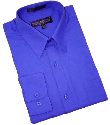 royal blue cotton blend dress shirt with convertible cuffs