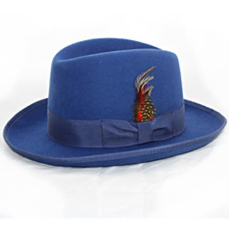 Men s  Godfather  Blue Fedora 1 Wool Homburg Dress Hat 4201    2204b63ac944