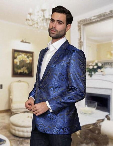 Cheap Priced Casual Royal Blue Blazer Pattenred Jacket For Mens