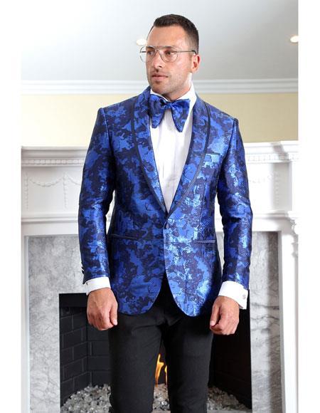 Mens Shiny ~ Paisley Royal Blue ~ Indigo Blazer Tuxedo Dinner Jacket Sport Coat