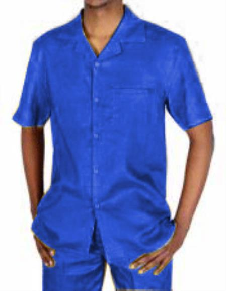Mens 5 Button Canary 100% Linen Short Sleeve Royal Blue Two Piece Casual Two Piece Walking Outfit For Sale Pant Sets Dress Suits for Men