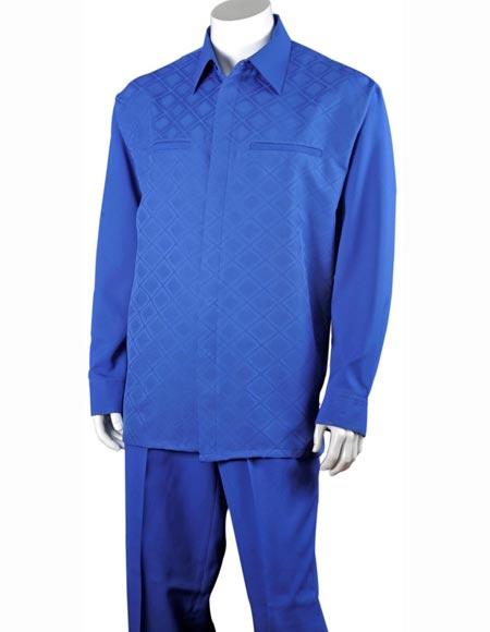 Mens Polyester Button Front Two Piece checkered check pattern Classic Fit Royal Blue Casual Two Piece Walking Outfit For Sale Pant Sets Dress Suits for Men