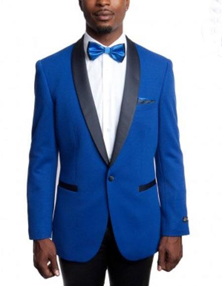 Men's Royal Blue Knitted Slim Fit Tuxedo Jacket with Black Shawl Lapel Button Closure Blazer