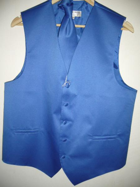 ROYAL BLUE DRESS TUXEDO WEDDING VEST & TIE SET