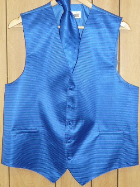 ROYAL BLUE Groomsmen Dress Tuxedo Wedding Vest ~ Waistcoat ~ Waist coat  & Tie set Buy 10 of same color Tie For $25 Each