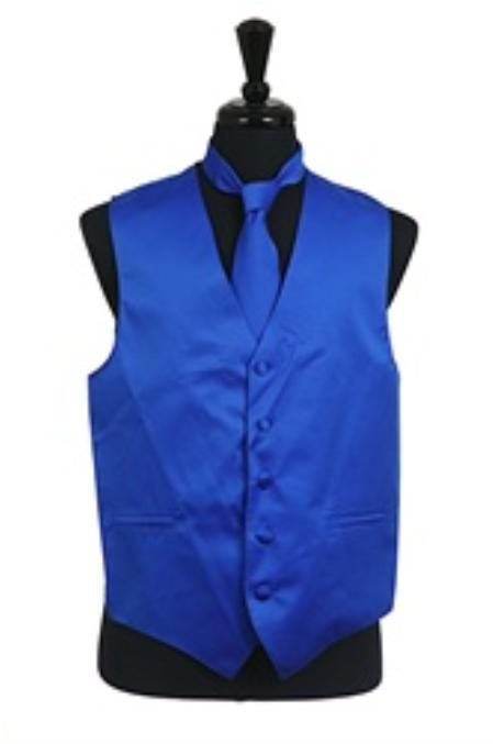 Dress Tuxedo Wedding Vest ~ Waistcoat ~ Waist coat Tie Set Royal Blue Buy 10 of same color Tie For $25 Each