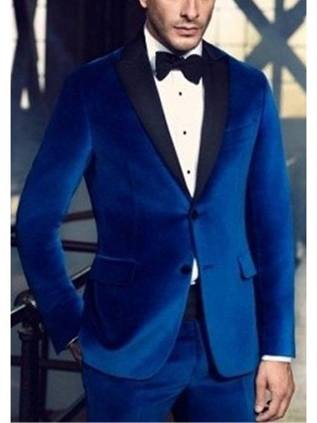 Men's 2 Button Royal Blue Wedding Tuxedo Dress Suits for Men